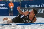 FIVB Světové série v plážovém volejbalu J&T Banka Ostrava Beach Open, 1. června 2019 v Ostravě. Čtvrtfinále ČR - Brazílie. Na snímku Álvaro Morais Filho (BRA).