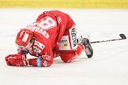 Čtvrtfinále play off hokejové extraligy - 3. zápas: HC Vítkovice Ridera - HC Oceláři Třinec, 24. března 2019 v Ostravě. Na snímku Michal Kovařčík.