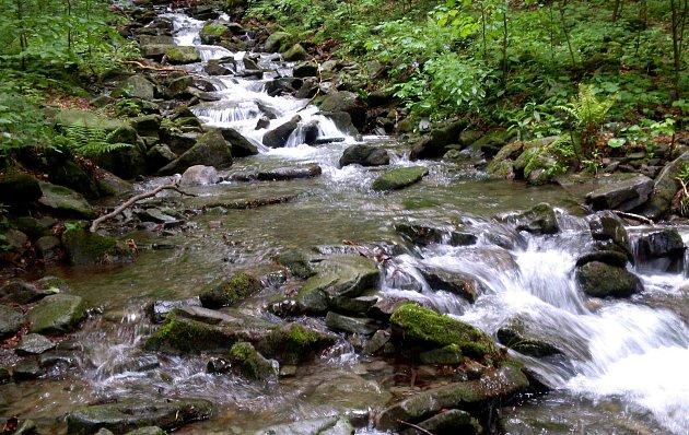 Bučací potok kousíček nad Ostravicí se může rozvodnit a být překážkou.