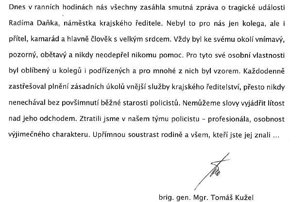 Vyjádření moravskoslezského policejního ředitele Tomáše Kužela. l