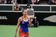 Petra Kvitová se raduje z vítězství nad Camilou Giorgiovou z Itálie v semifinále Fed Cupu.