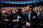 Celostátní fórum České pirátské strany v Dolní Oblasti Vítkovic, 11. ledna 2020 v Ostravě. Na snímku (zleva) Ivan Bartoš, Mikuláš Ferjenčík a Vojtěch Pikal.