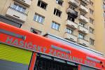 Zásah hasičů u požáru bytu v Ostravě-Porubě.