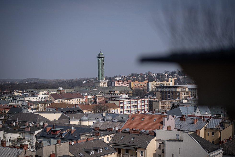 Výhled z Katedrály Božského Spasitele, březen 2021 v Ostravě.