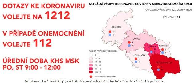 Mapa nákazy KHS 22.března, 18:00 hodin.