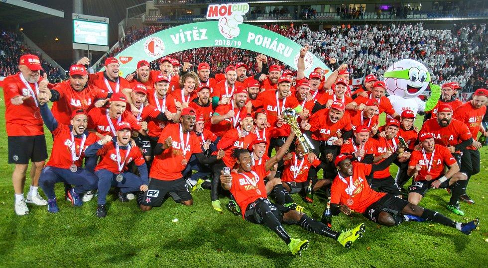 Finále fotbalového poháru MOL Cupu, Baník Ostrava - Slavia Praha 22.května 2019 v Olomouci. Na snímku Slavia Praha.