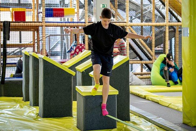 Trampolínový park Hop Jump, který se nachází vostravské Dolní oblasti Vítkovice, únor 2020.