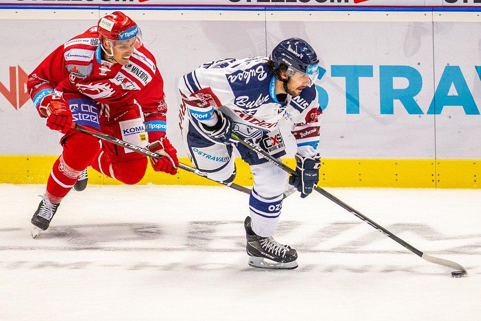 Utkání 33. kola hokejové extraligy: HC Vítkovice Ridera - HC Oceláři Třinec, 17. září 2019 v Ostravě. Zleva Šimon Stránský z Vítkovic.