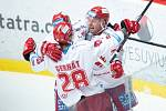 Čtvrtfinále play off hokejové extraligy - 1. zápas: HC Oceláři Třinec - HC Vítkovice Ridera, 20. března 2019 v Třinci. Na snímku Martin Adamský a Martin Gernát.
