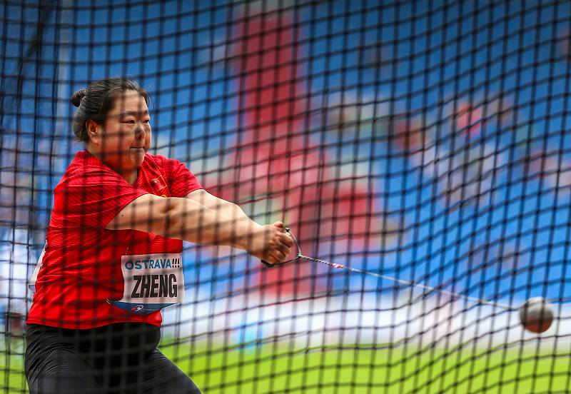 Atletický mítink IAAF World Challenge Zlatá tretra v Ostravě 20. června 2019. Na snímku Wang Zheng z (CHN).