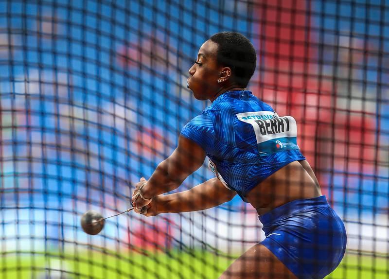 Atletický mítink IAAF World Challenge Zlatá tretra v Ostravě 20. června 2019. Na snímku Gwen Berry z (USA).