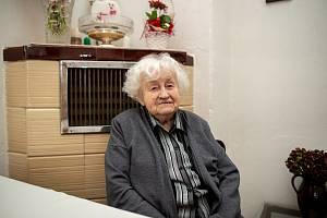 Paní Milada Matoušková, která oslavila 100 let, 27. ledna 2020 v Ostravě.