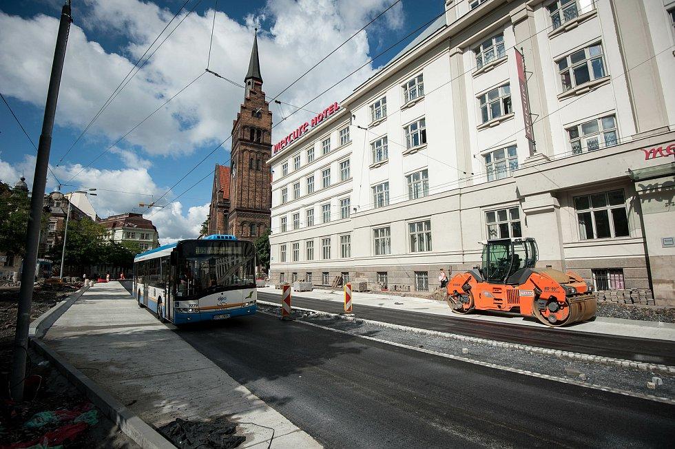 Rekonstrukce ulice Českobratrské v Ostravě, 4. zaří 2017.