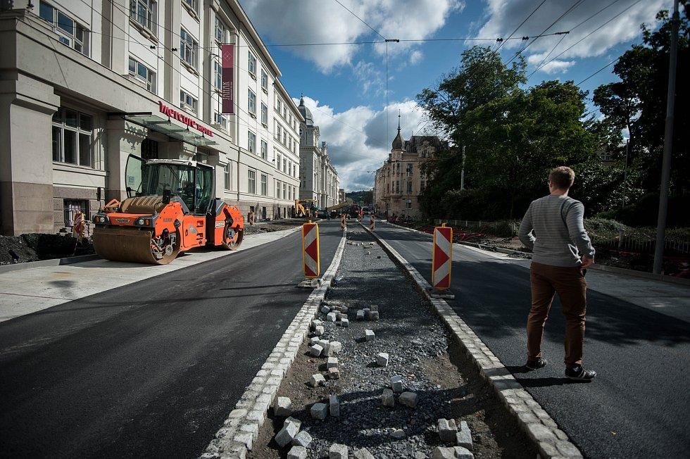 Rekonstrukce ulici Českobratrské v Ostravě, 4. zaří 2017.