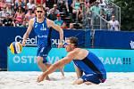 FIVB Světové série v plážovém volejbalu J&T Banka Ostrava Beach Open, 1. června 2019 v Ostravě. Na snímku (zleva) Ondrej Perusic (CZE), David Schweiner (CZE).