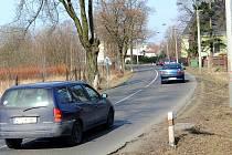 Nebezpečný silnice v Ostravě-Nové Vsi.