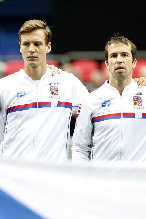 Davis Cup v Ostravě. Tomáš Berdych (vlevo) a Radek Štěpánek.