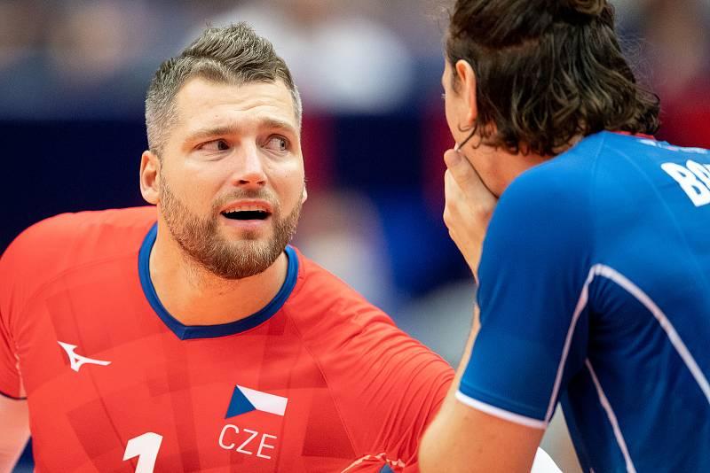 Utkání mistrovství Evropy volejbalistů - osmifinále: ČR - Francie, 13. září 2021 v Ostravě. Milan Moník z ČR.