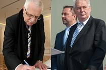 Na snímku prezident Václav Klaus (vlevo) a současný prezident Miloš Zeman.