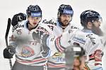 Utkání 32. kola hokejové extraligy: HC Vítkovice Ridera - PSG Berani Zlín, 4. ledna 2019 v Ostravě. Na snímku (zleva) Patrik Zdráhal, Ondřej Roman a Jan Výtisk.