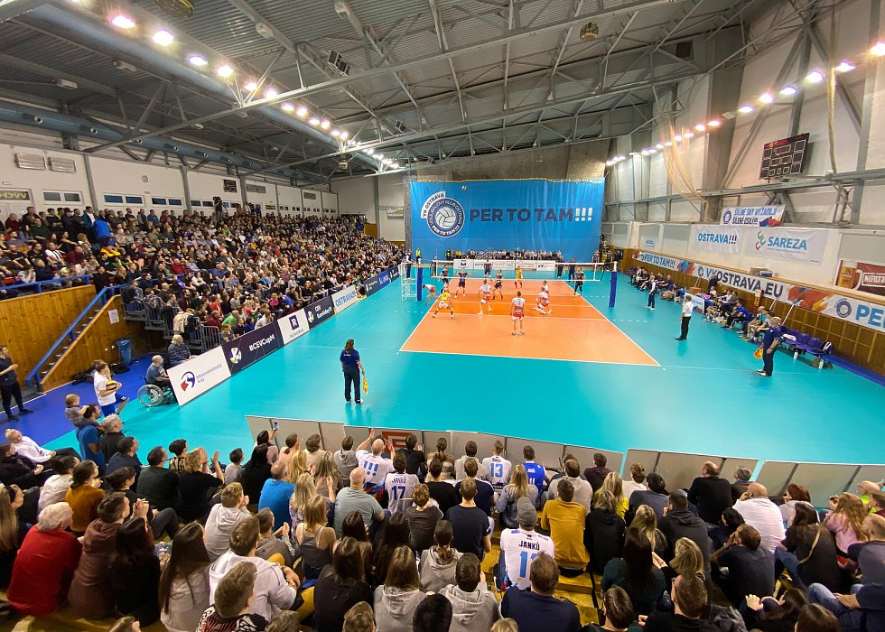 Zápas CEV Volleyball Cup 2020, VK Ostrava - Leo Shoes Modena, 12. února 2020 v Ostravě. Fanoušci.