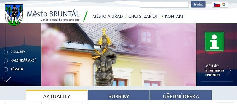 Titulní stránka webu Bruntálu.