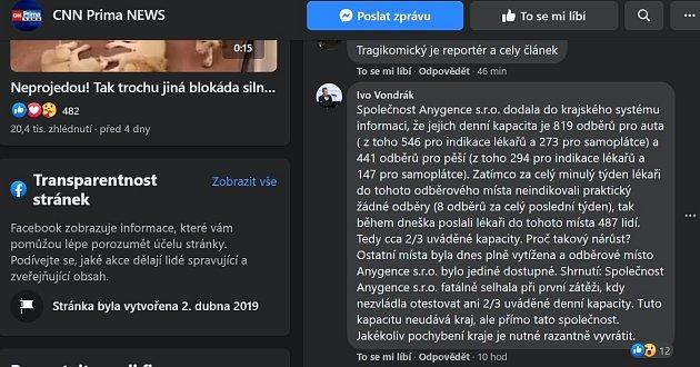 Vyjádření Ivo Vondráka na facebooku CNN Prima News.
