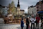 Velikonoční jarmark na Masarykově náměstí v Ostravě.