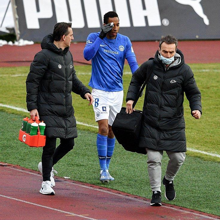 Utkání 9. kola první fotbalové ligy: Baník Ostrava - Slovan Liberec, 27. ledna 2021 v Ostravě. (střed) Jhon Edison Mosquera Rebolledo z Liberce.