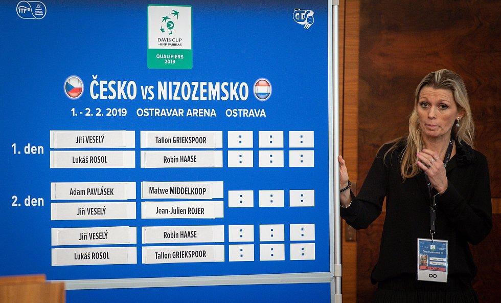 Losování pořadí zápasů kvalifikace tenisového Davisova poháru ČR - Nizozemsko.