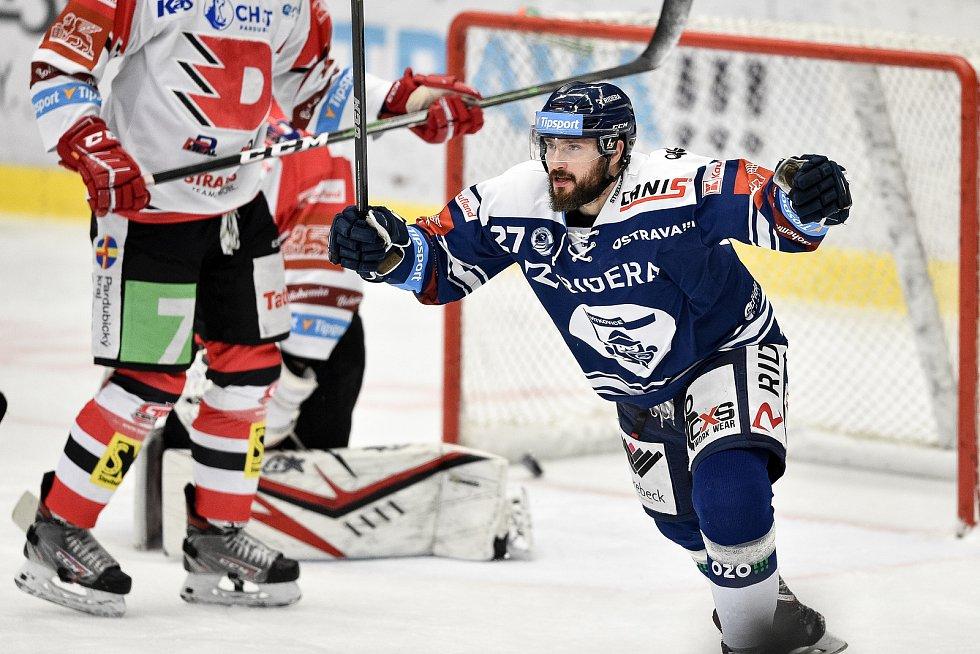 Utkání 50. kola hokejové extraligy: HC Vítkovice Ridera - HC Dynamo Pardubice, 2. března 2021 v Ostravě. Rastislav Dej z Vítkovic se raduje z gólu.