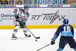 Utkání 17. kola hokejové extraligy: HC Vítkovice Ridera - Rytíři Kladno, 3. listopadu 2019 v Ostravě. Na snímku zleva Patrik Zdráhal, Tomáš Kaut.