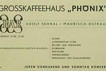 Reklama podniku AS-bar v Moravské Ostravě z období 2. světové války.