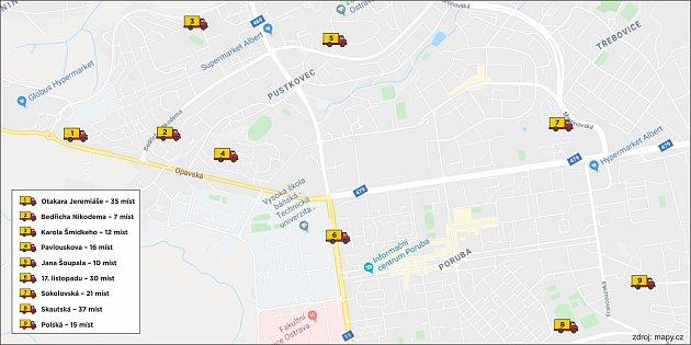Mapa vyhrazených parkovišť pro nákladní vozy nad 2,5tuny vPorubě.
