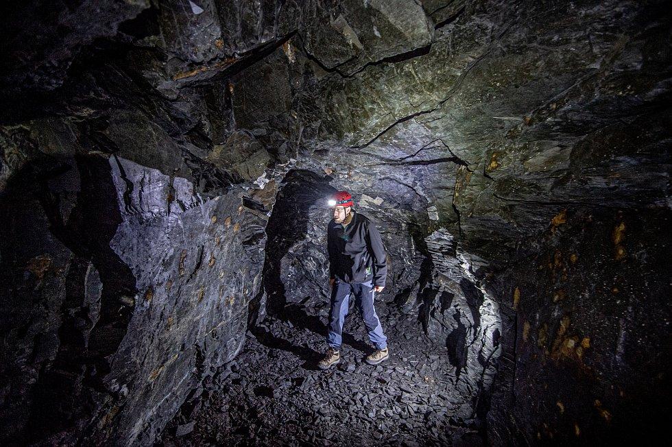U města Odry se otevřel Flascharův důl, kde se v minulosti těžila břidlice, 9. července 2020. Jeden z iniciátorů projektu Jakub Zeman.
