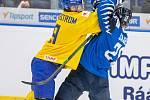 Mistrovství světa hokejistů do 20 let, zápas o 3. místo: Švédsko - Finsko, 5. ledna 2020 v Ostravě. Na snímku (zleva) Victor Soderstrom (SWE), Antti Saarela (FIN).
