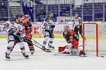 Utkání 39. kola hokejové extraligy: HC Vítkovice Ridera - Mountfield Hradec Králové, 24. ledna 2020 v Ostravě. Na snímku (vpravo) brankář Hradce Králové Marek Mazanec.