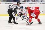 Utkání 34. kola hokejové extraligy: HC Vítkovice Ridera - HC Oceláři Třinec, 12. ledna 2019 v Ostravě. Na snímku (zleva) Ondřej Roman, Martin Adamský.