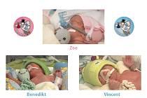 Zoe, Benedikt, Vincent. V takovémto pořadí přivedl na svět tým porodníků Gynekologicko-porodnické kliniky FN Ostrava letos už druhá trojčata.
