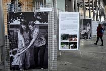 Výstava s názvem Propojení na nádraží ve Svinově.