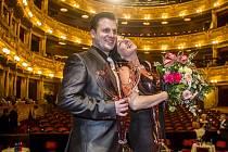 Ceny Thálie. Ocenění v kategorii muzikálu a operety převzali Tomáš Savka i Hana Fialová (oba na snímku).