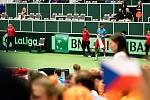 ČR - Nizozemsko, utkání kvalifikace tenisového Davisova poháru - úvodní dvouhry, Jiří Veselý (ČR) - Tallon Griekspoor (Nizozemsko), 1. února 2019 v Ostravě. Na snímku Jiří Veselý.