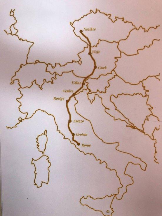 Mapa cesty z Nezdic do Říma.