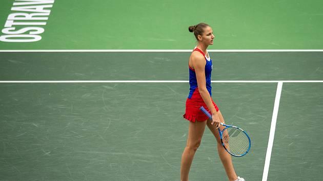 1. kolo tenisového Fed Cupu: Česká Republika - Rumunsko, 10. února 2019 v Ostravě. Zápas mezi Karolinou Plíškovou (na snímku) a Simonou Halepovou.