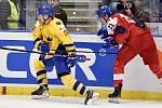 Mistrovství světa hokejistů do 20 let, čtvrtfinále: ČR - Švédsko, 2. ledna 2020 v Ostravě. Na snímku (zleva) Nikola Pasic a Jaromir Pytlik.