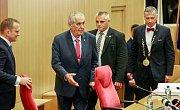 Návštěva prezidenta Miloše Zemana v Moravskoslezském kraji, 15. května 2018, v budově krajského úřadu.
