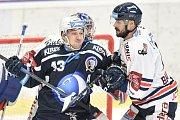 Utkání 30. kola hokejové extraligy: HC Vítkovice Ridera - HC HC Škoda Plzeň, 28. prosince 2018 v Ostravě. Na snímku (zleva) Jan Kovář a Ivan Baranka.