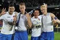 15. SRPNA 2014. To byl den, kdy fotbalisté Baníku Ostrava slavně vyhráli na Spartě 1:0. Zleva Patrizio Stronati, Jan Baránek, Daniel Holzer a Michal Frydrych.