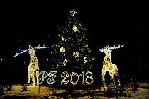 Dva pětimetroví 3D jeleni na rondelu v Hrabůvce vévodí letošní vánoční výzdobě v Ostravě-Jihu.
