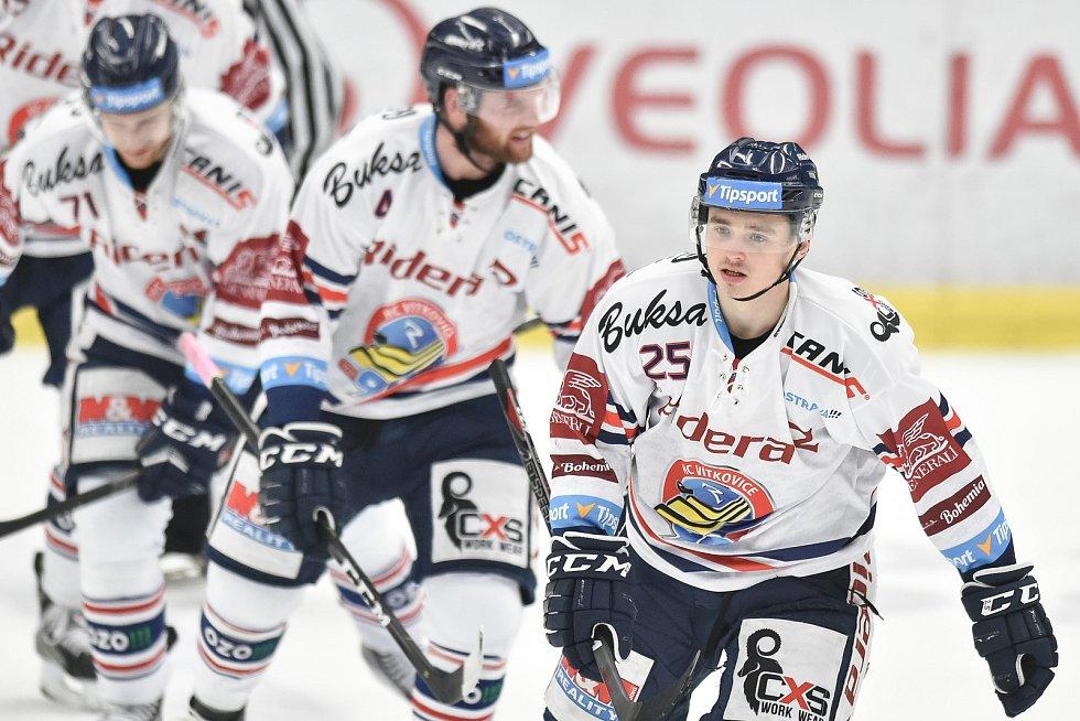 Utkání 30. kola hokejové extraligy: HC Vítkovice Ridera - HC HC Škoda Plzeň, 28. prosince 2018 v Ostravě. Na snímku (vpravo) Patrik Zdráhal.